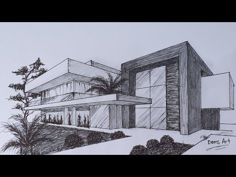 Modern House in 2 Point Perspective Drawing Tutorial