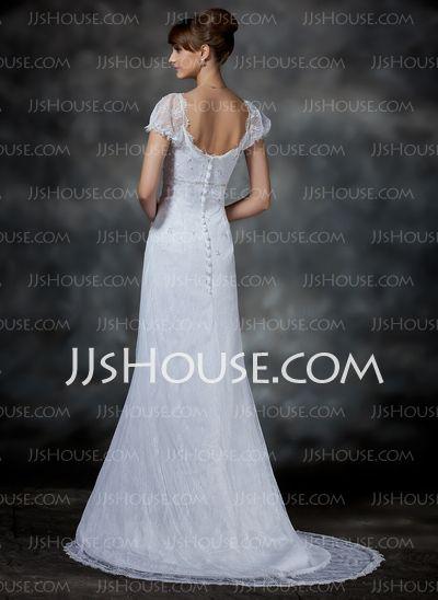 Império Decote redondo Cauda corte cetim laço Vestido de noiva com Bordado (002000214)