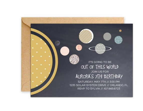 Solar system invitations planet party invitations for Space themed stationery