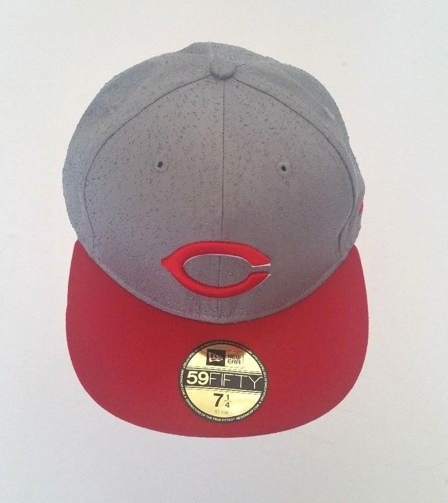 new style 78b5c d05d0 New Era Cincinnati Reds 59Fifty Textured Fitted Hat Gray Red Brim Size 7  1 4  NewEra  CincinnatiReds