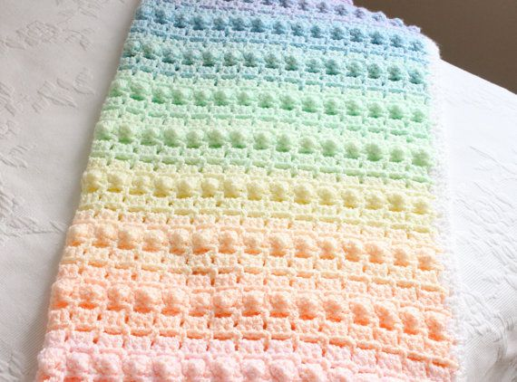 Crochet Pattern Rainbow Baby Blanket Pretty Popcorn Stitch Digital