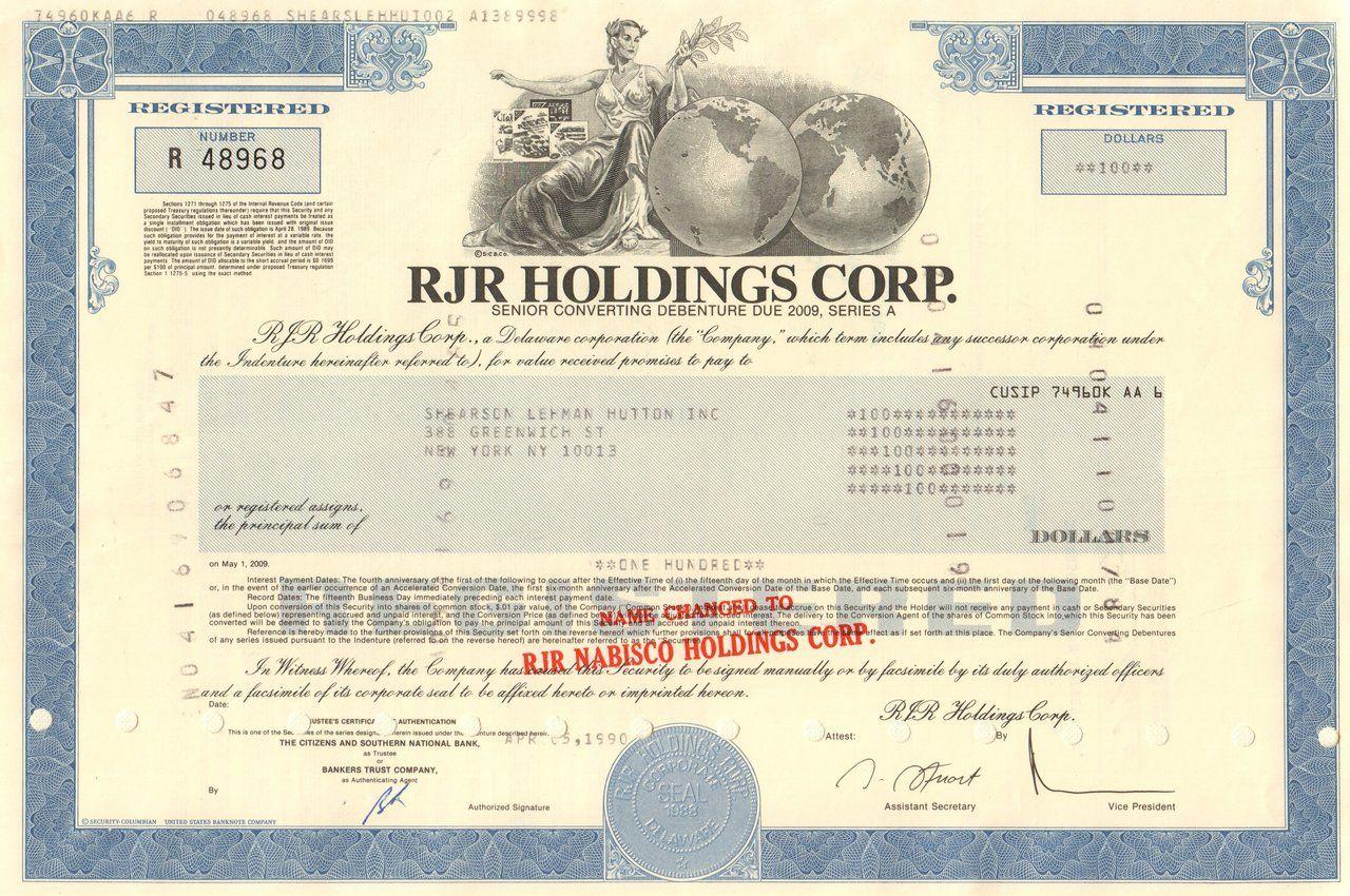 RJR Holdings Corp. bond 1990 (ReynoldsNabisco) Bond