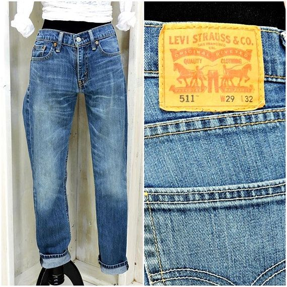 5c82b2f89eb Vintage Levis 511 29 X 32 / 90s LEVI'S high waisted skinny jeans / Levi  Strauss