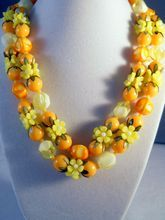 Orange Fruit and Flowers Plastic Bead Necklace Hong Kong