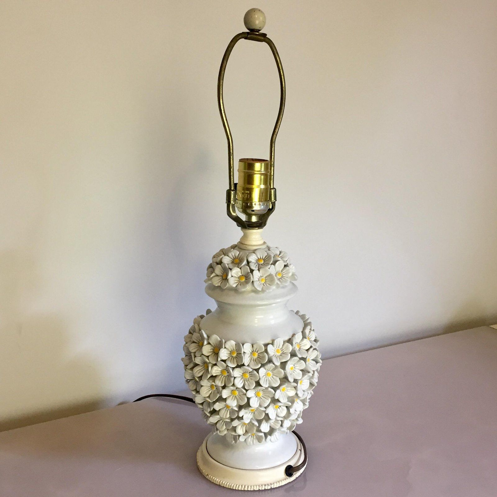 Beautiful Vintage Hand Painted 1940s Porcelain Urn Lamp In Red White And Gold Trim And Floral Design S Vintage Lamps Star Lights On Ceiling Glass Floor Lamp