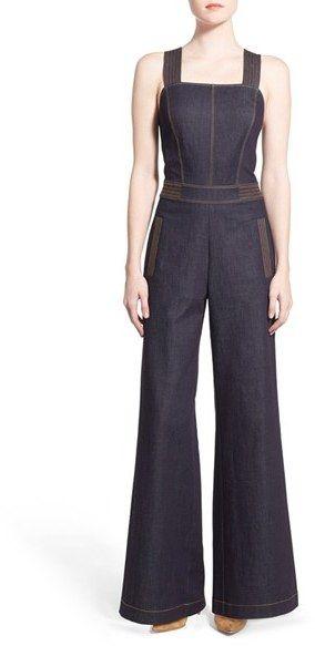 34746eea76e4 Olivia Palermo + Chelsea28 Wide Leg Denim Jumpsuit. A retro-inspired denim  jumpsuit is