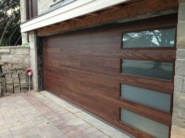 Chi Accents Plank Steel Door With Laminate Windows Contemporary Garage And Shed Modern Garage Doors Contemporary Garage Doors Garage Door Design