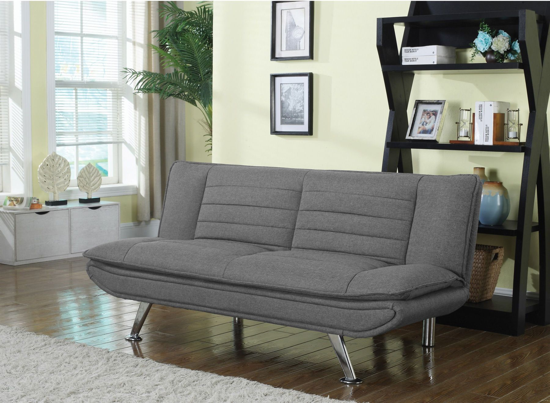 Coaster Cs966 Gray Woven Fabric Sofa Bed Grey Sofa Bed Living Room Sofa Futon Sofa