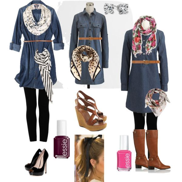 aaa91f70dd denim shirtdress with leggings, scarf and boots (Try with pink/gray  patterned leggings and plain gray scarf)