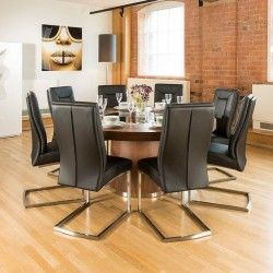 Large Round Dining Table Seats Up To Person LED Black Glass - 10 person modern dining table