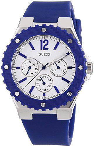 c8439a6126 Guess - W90084L3 - Montre Femme - Quartz Analogique - Cadran Blanc -  Bracelet Silicone Bleu