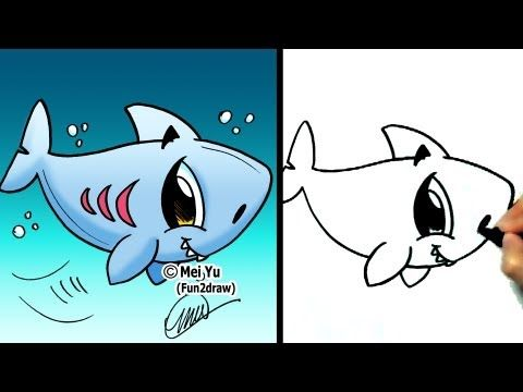 How To Draw A Cartoon Shark How To Draw Sea Animals Http Www Y Shark Drawing Fun2draw Animal Drawings