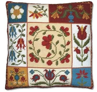 norwegian embroidered tapestry  | Millennia Designs: 'Shaker Flowers' Tapestry Kit