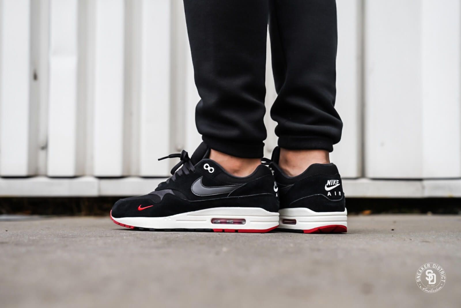 0b94a9f46f7a Nike Air Max 1 Premium Mini Swoosh Black University Red - 875844-007 ...