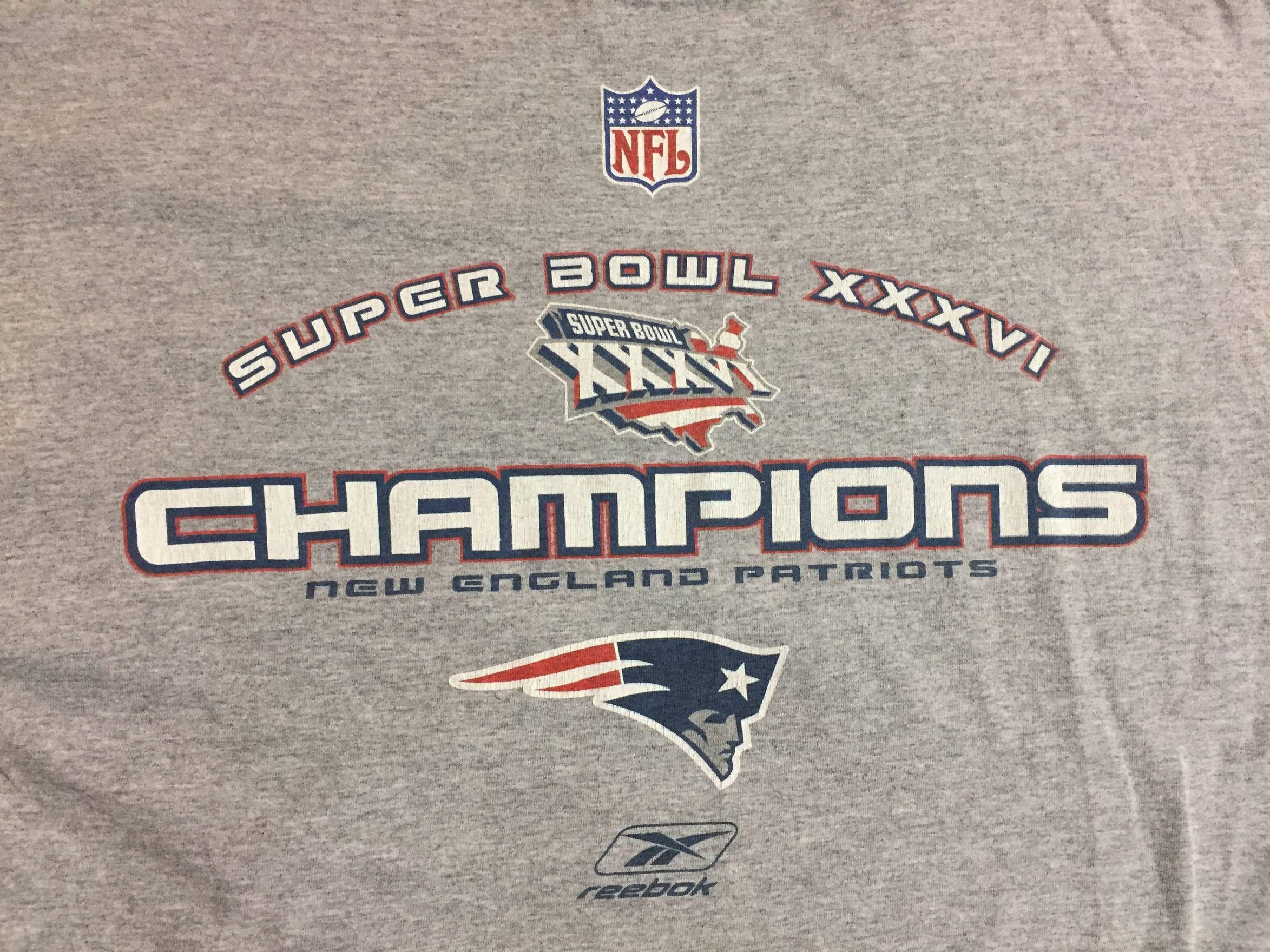 c342af15 Vintage Vtg New England Patriots 2004 Super Bowl Champions Long Sleeve  Graphic T-Shirt Gray Grey Large Vintage Size US L / EU 52-54 / 3