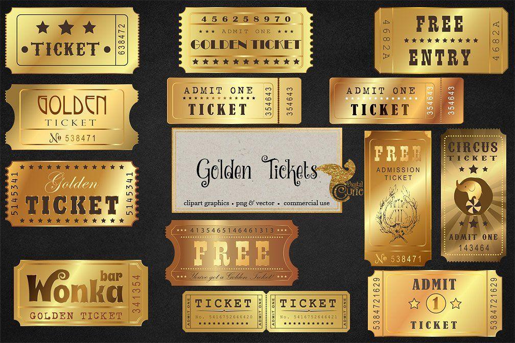 Golden Tickets Vector Clipart Receive Projects High Ticket Igrovoj Dizajn Bilet