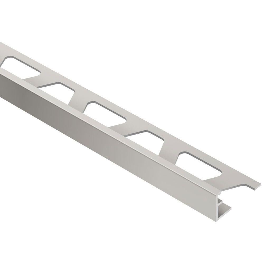 Schluter Jolly Satin Nickel Anodized Aluminum 3 8 In X 8 Ft 2 1 2 In Metal Tile Edging Trim A100at The Home Depot In 2020 Tile Edge Trim Tile Edge Metal Tile