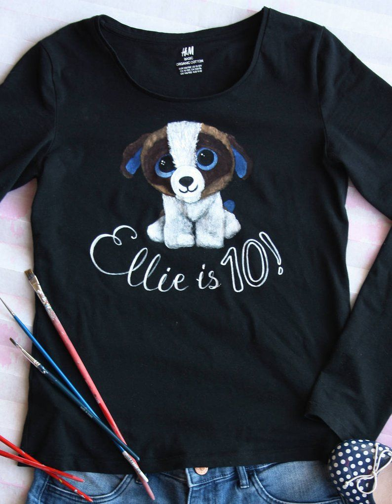 cf479ad38d87 Girl's Birthday Shirt, Baby Dog Tshirt, Hand-painted Animal T-shirt,