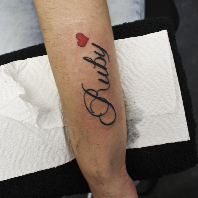 Ruby Script Lettering Tattoo Tattoo Lettering Tattoos Script Lettering
