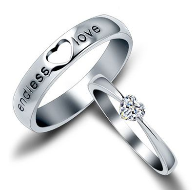 Wedding Rings For Him And Her Sterling Silver His and Her