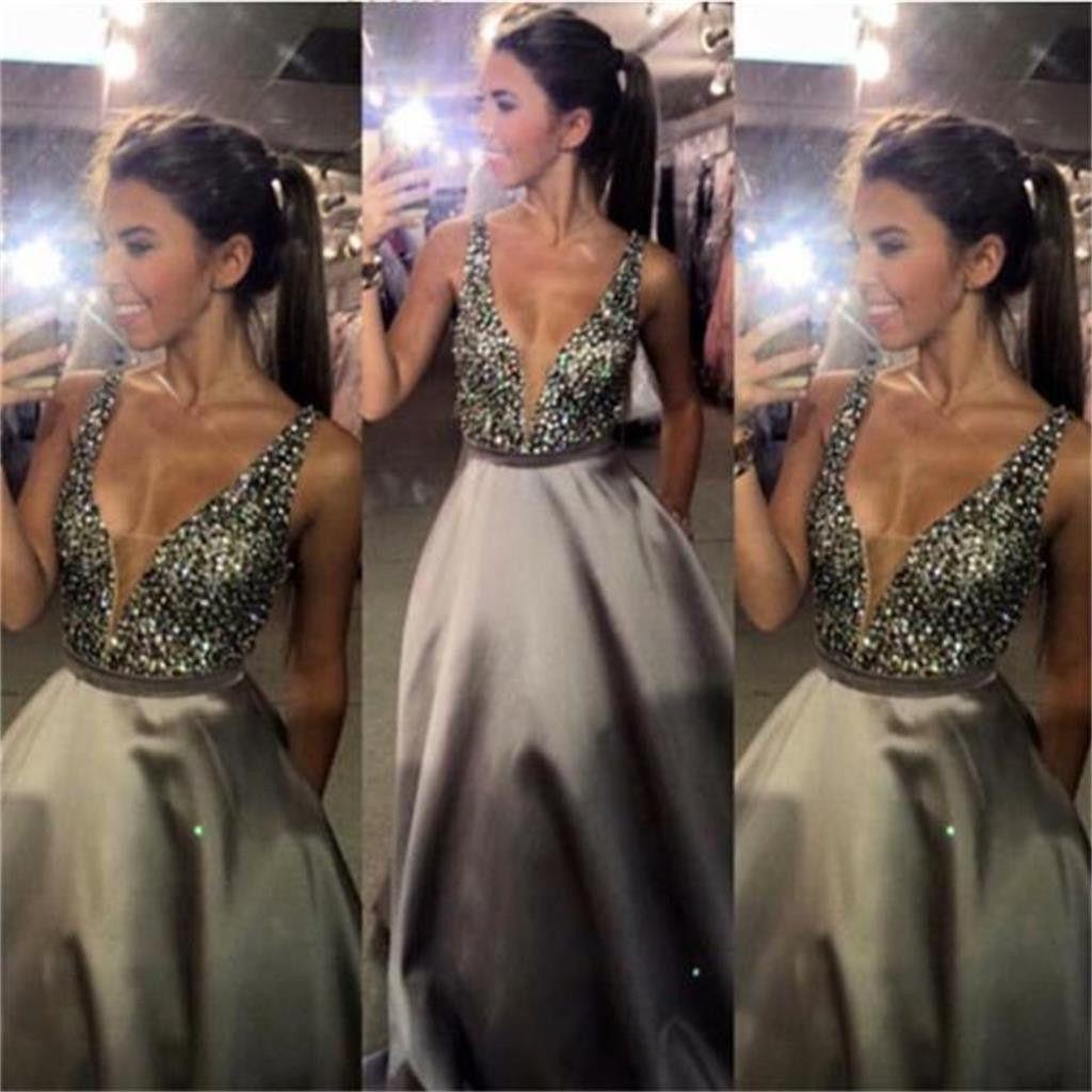 Charming vneck sexy popular aline evening sparkly custom long prom