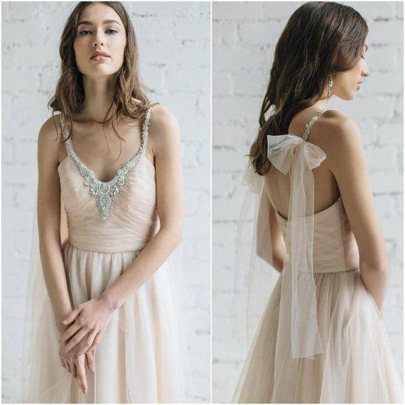 Hochzeitskleid, erröten Brautkleid, Brautkleid, offener Rücken ...