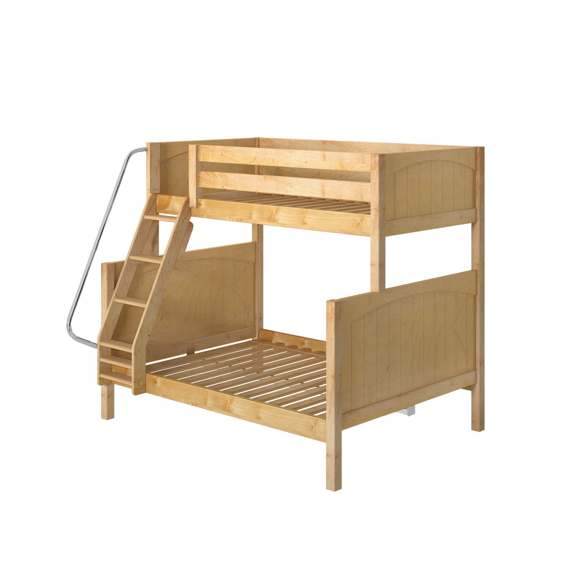 26 High Twin over Full Bunk Bed   Natural / Panel / Angled Ladder Front