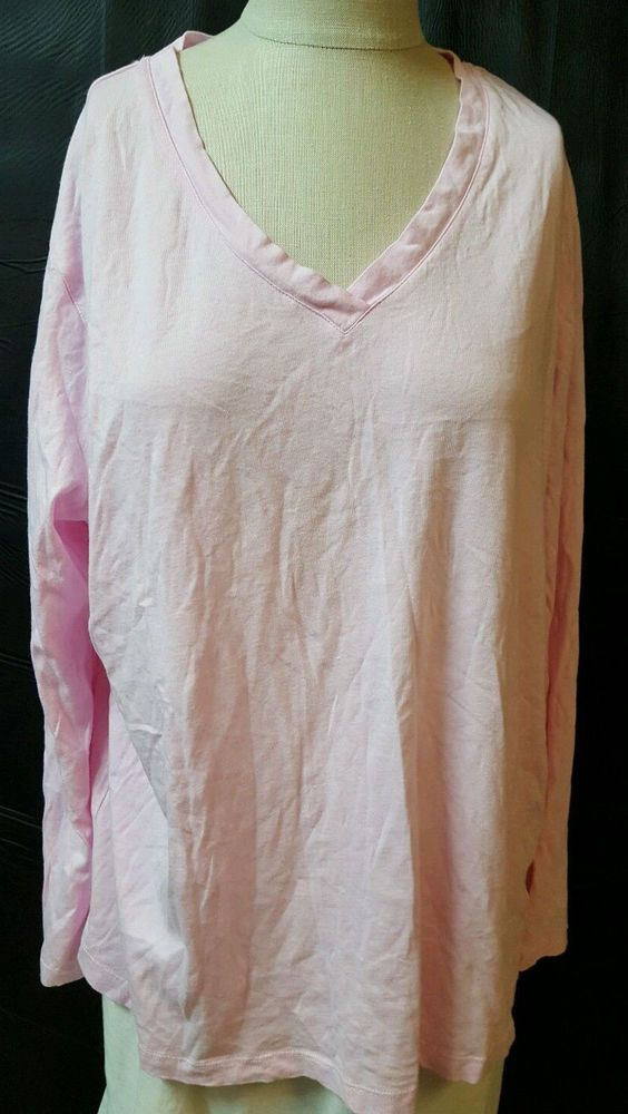 07987ad4446def Pink V Neck long Sleeve T Shirt Size 1X Modal Cotton Hue Soft Casual  Comfortable #Hue #BasicTee