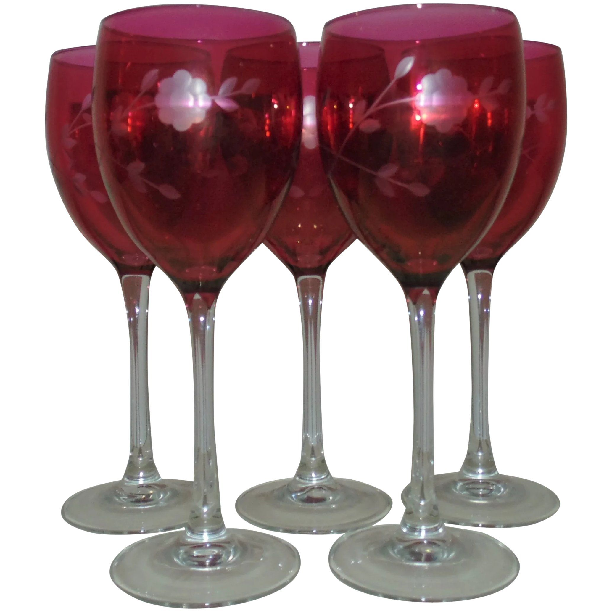 Set Of 5 Bohemian Cranberry Wine Glasses Etched Glass Stems Stemware Czech Czechoslovakian In 2020 Cranberry Wine Wine Glasses Wine
