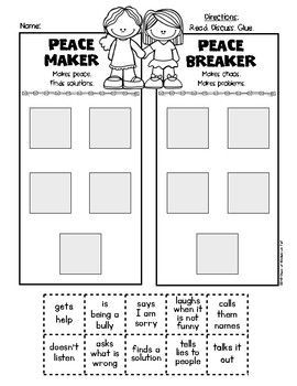 {Be A Peacemaker} First Grade & Kindergarten Social