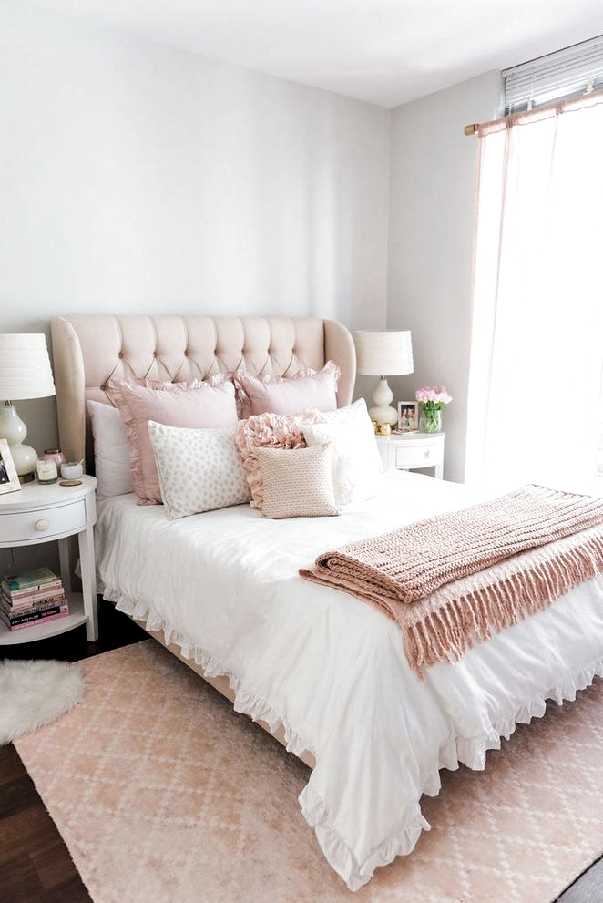 27 The Most Popular Blush And Grey Bedroom Rose Gold 53 Apikhome Com In 2020 Grey Room Decor Pink Bedrooms Rose Gold Bedroom