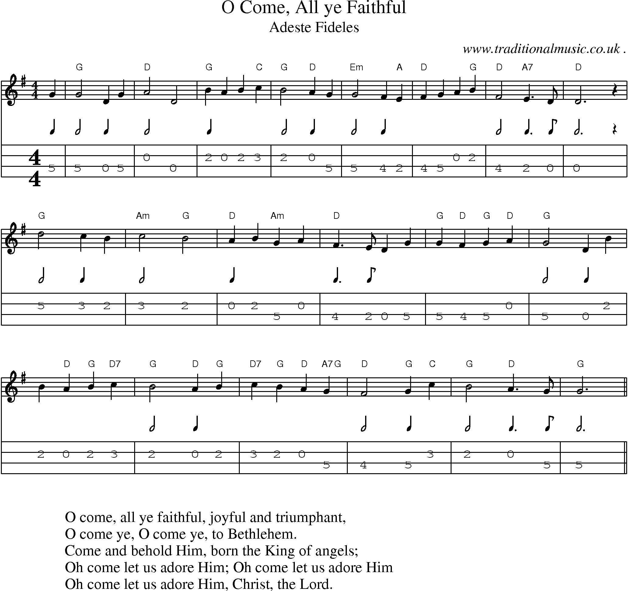 Music Score And Guitar Tabs For O Come All Ye Faithful Mandolin