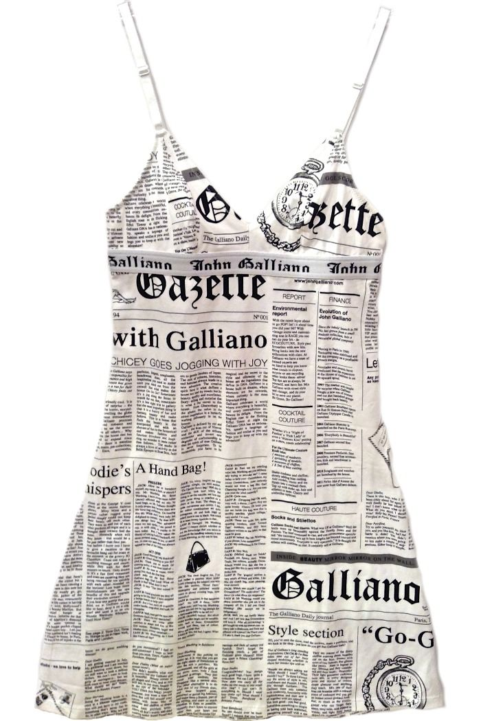 95e1c69f John Galliano beach wear newspaper print mini knit dress, also great for  daywear or sleepwear at Moods of Florence, Portland Oregon.