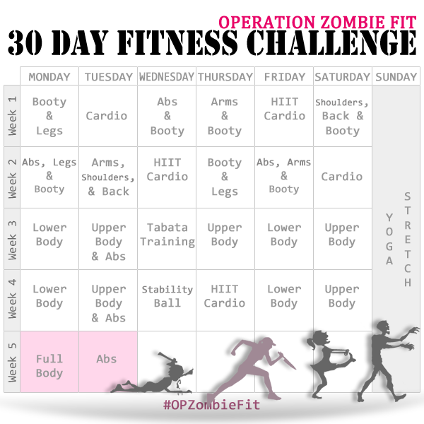 Calendario Fit.Operation Zombie Fit Calendar Week 5 Fitness Workout
