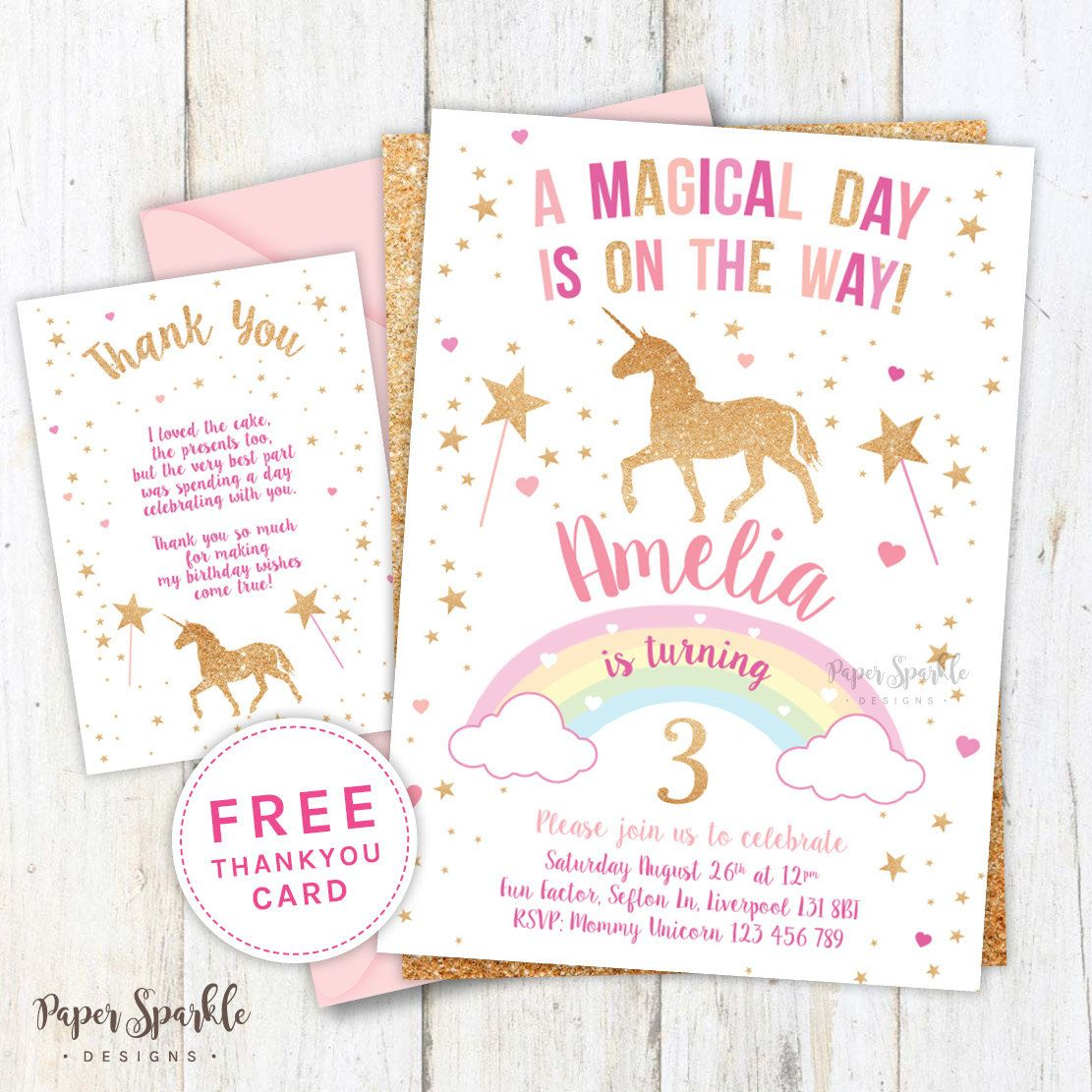 Unicorn Invitation Party First By PaperSparkleDesigns