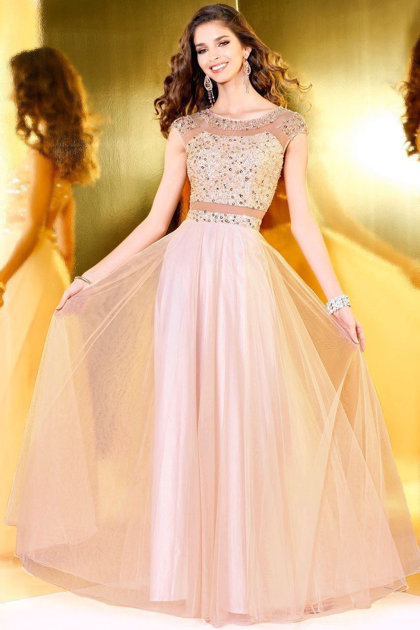 Blush decorative sleeveless gown with sheer cutouts products