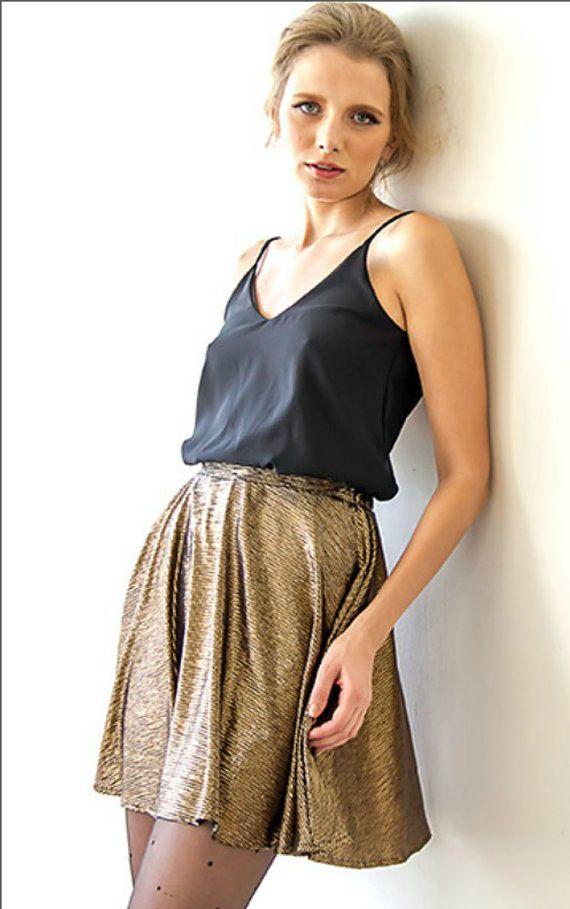 Bronze mini skirt/ High waist gold metallic skirt/ by BastetNoir