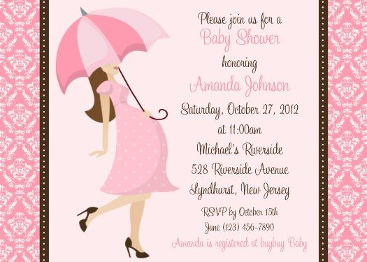 Happy Mom With Umbrella Baby Girl Invitations 525x375 Baby Shower  Invitations For A Girl