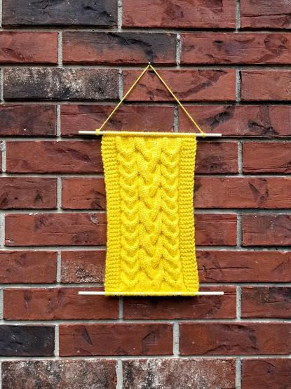 CLEARANCE Yellow Knit Wall Hanging, Yarn Tapestry, Nursery Wall ...