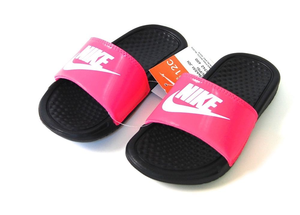 f0c28f70bbabf Nike Sandals 12 C Benassi JDI NWT Pink Black Slide Flip Flops Girls  Nike   FlipFlopsSlides