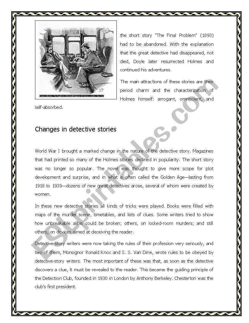 The Detective Story Worksheet Detective Detective Story Esl Reading [ 1086 x 838 Pixel ]