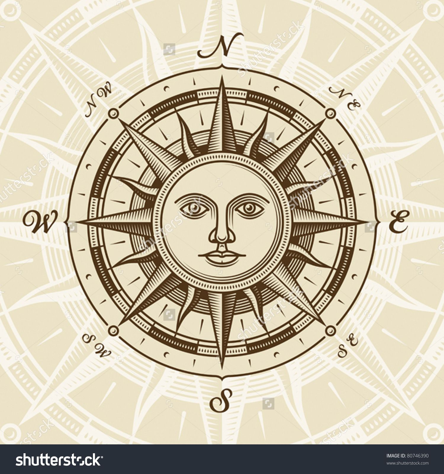 Vintage Sun Compass Rose Vector Compass Rose Tattoo Compass Drawing Compass Rose
