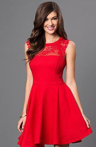 Red Lace Fit Flare Dress