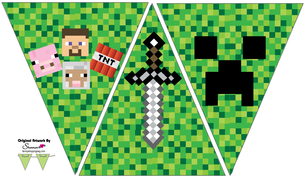photo regarding Free Printable Chevron Banner Minecraft titled A toward Z for Mothers Which include Me: Minecraft Birthday Bash occasion