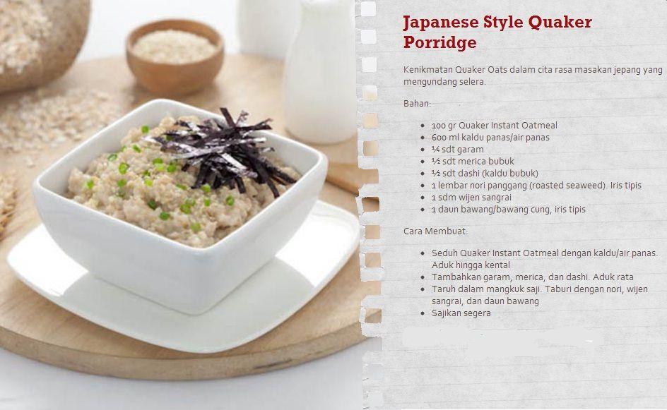 Heart Lovers Coba Yuk Keunikan Dari Quaker Oatmeal Ala Jepang Untuk Dinner Nanti Malam Resep Juga Bisa Dilihat Di Www Sayangijantungmu Oatmeal Resep Masakan