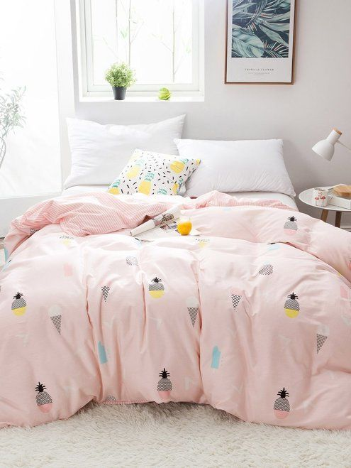 Home Goods Bedding Sets.Pineapple Ice Cream Print Duvet Cover 1pc New Comforters