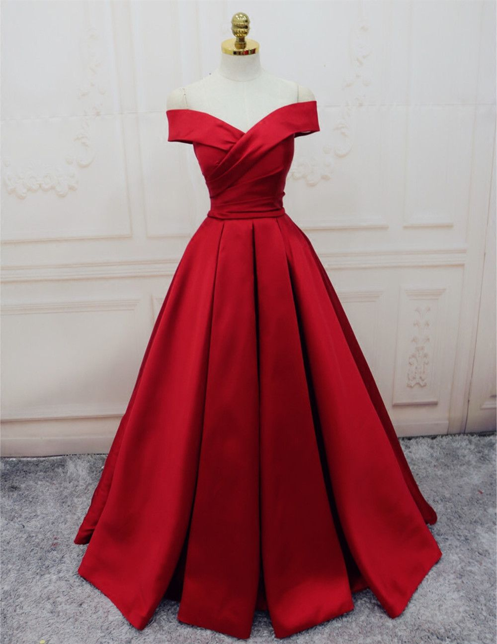 satin evening gowns,off the shoulder prom dress,burgundy prom dress ...