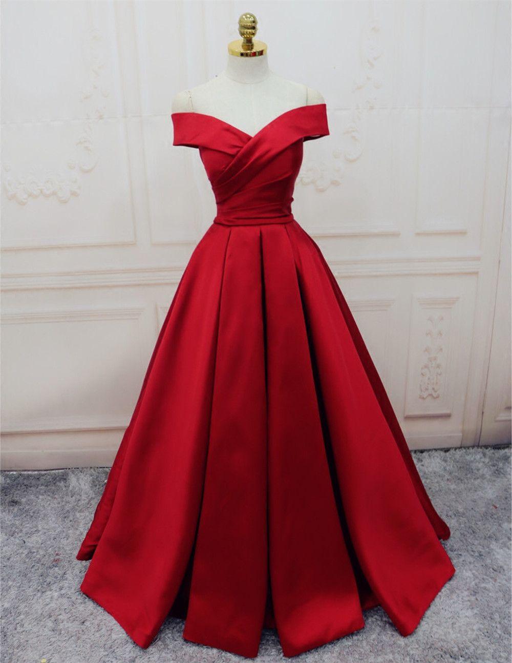 satin evening gownsoff the shoulder prom dressburgundy