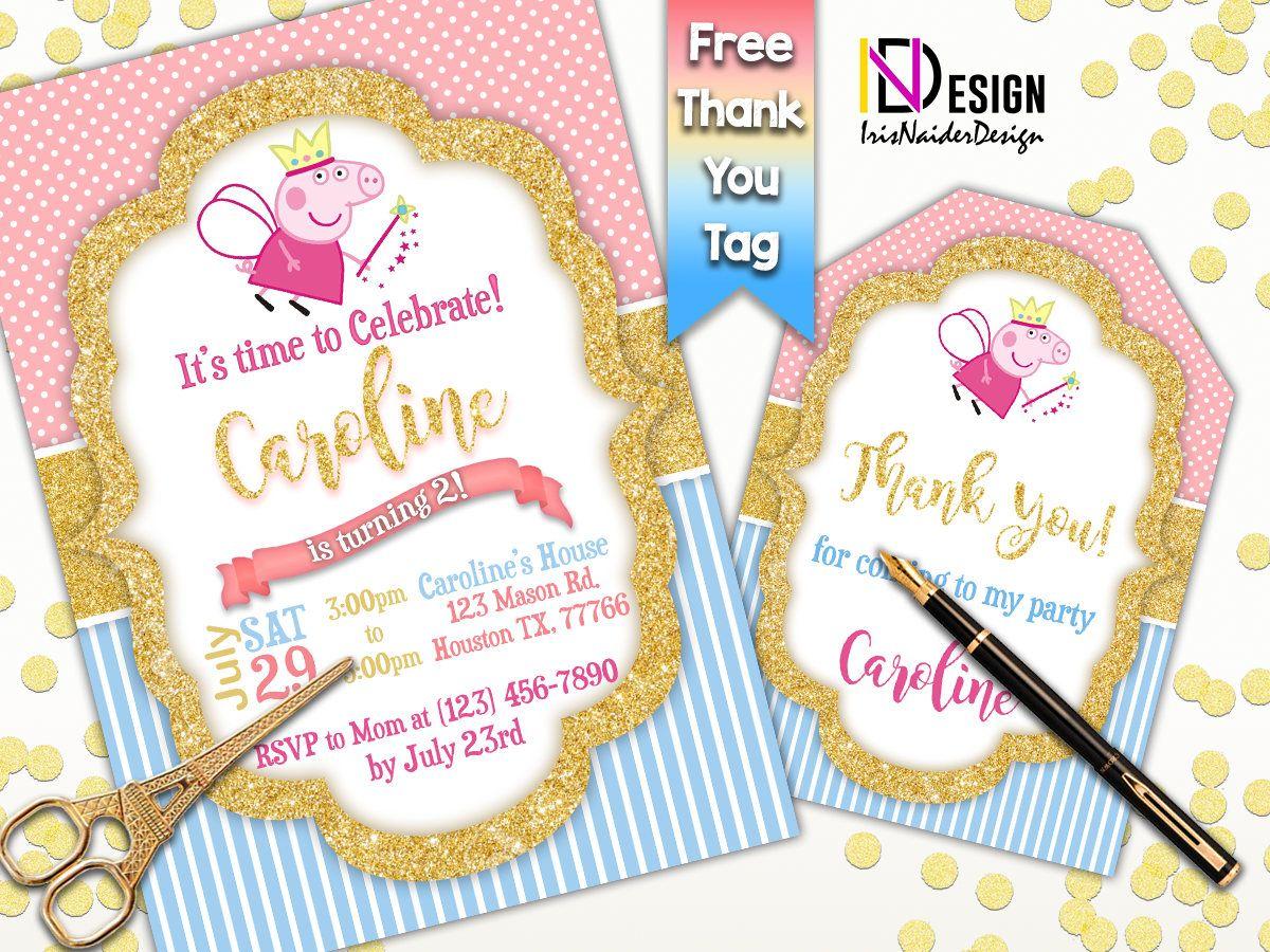 Peppa Pig Invitation FREE Thank You tag, Peppa Pig Invites, Pepa Pig ...