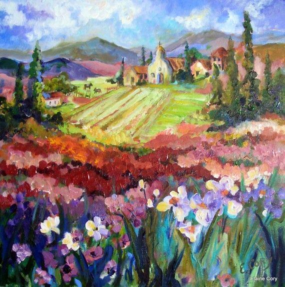 Landscape Italian Springtime Oil Painting 24 x 24 Original by Elaine Cory